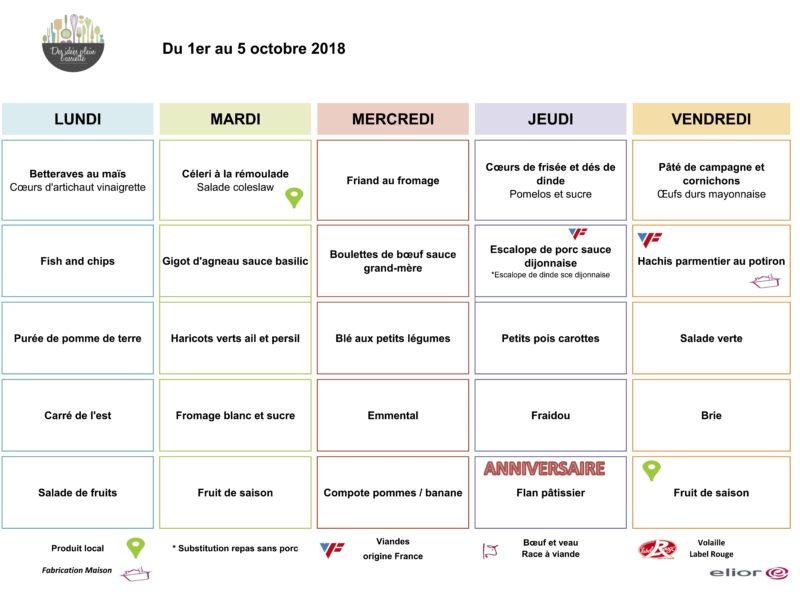 Menus RIMOGNE SEM1 octobre 2018