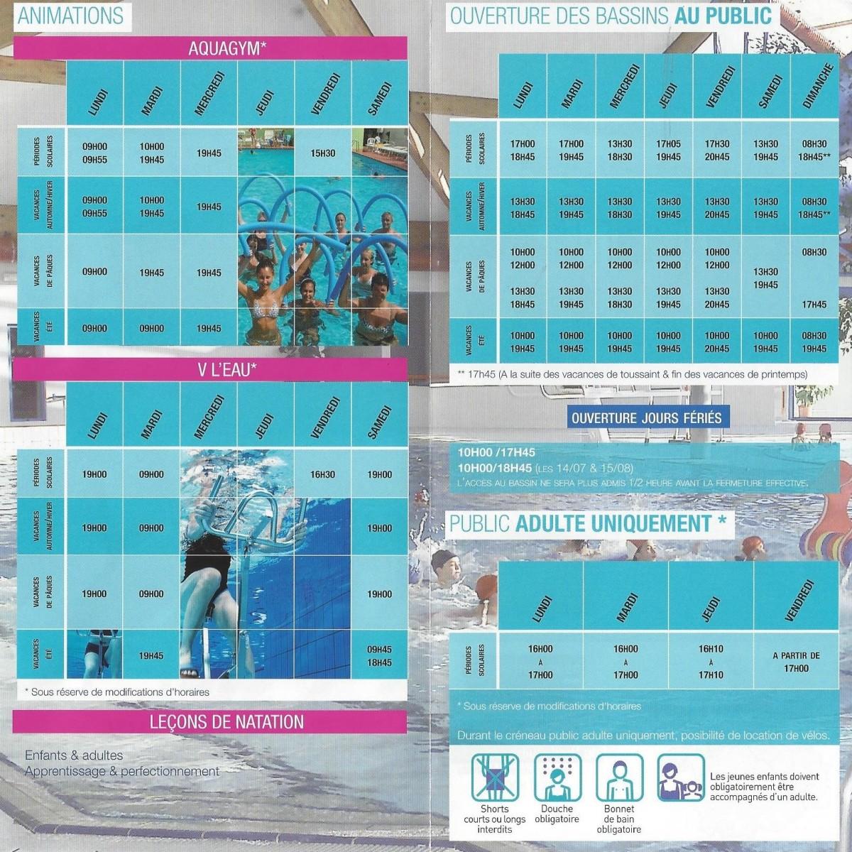 Horaires Centre aquatique de Rocroi